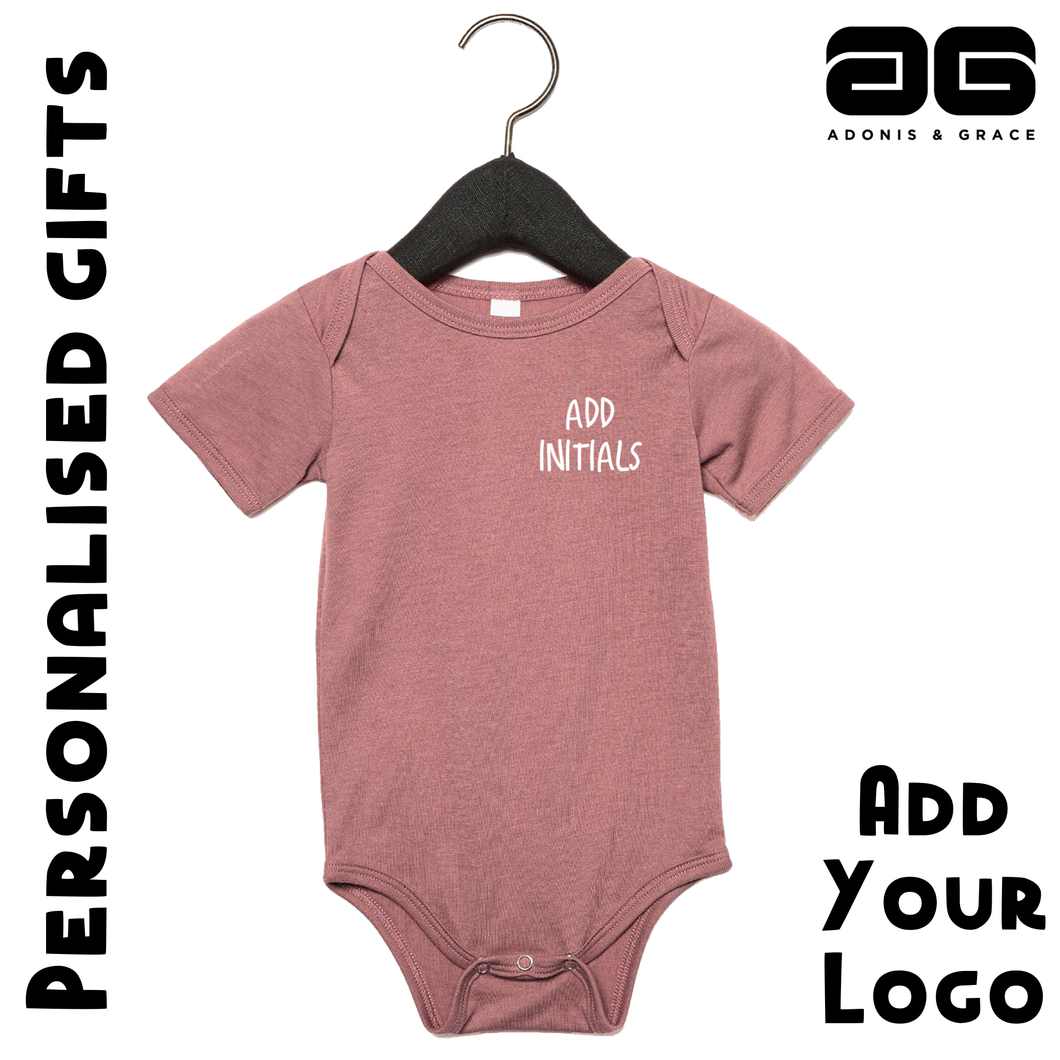 Adonis & Grace (Personalised) Baby Grow Triblend One Piece Mauve