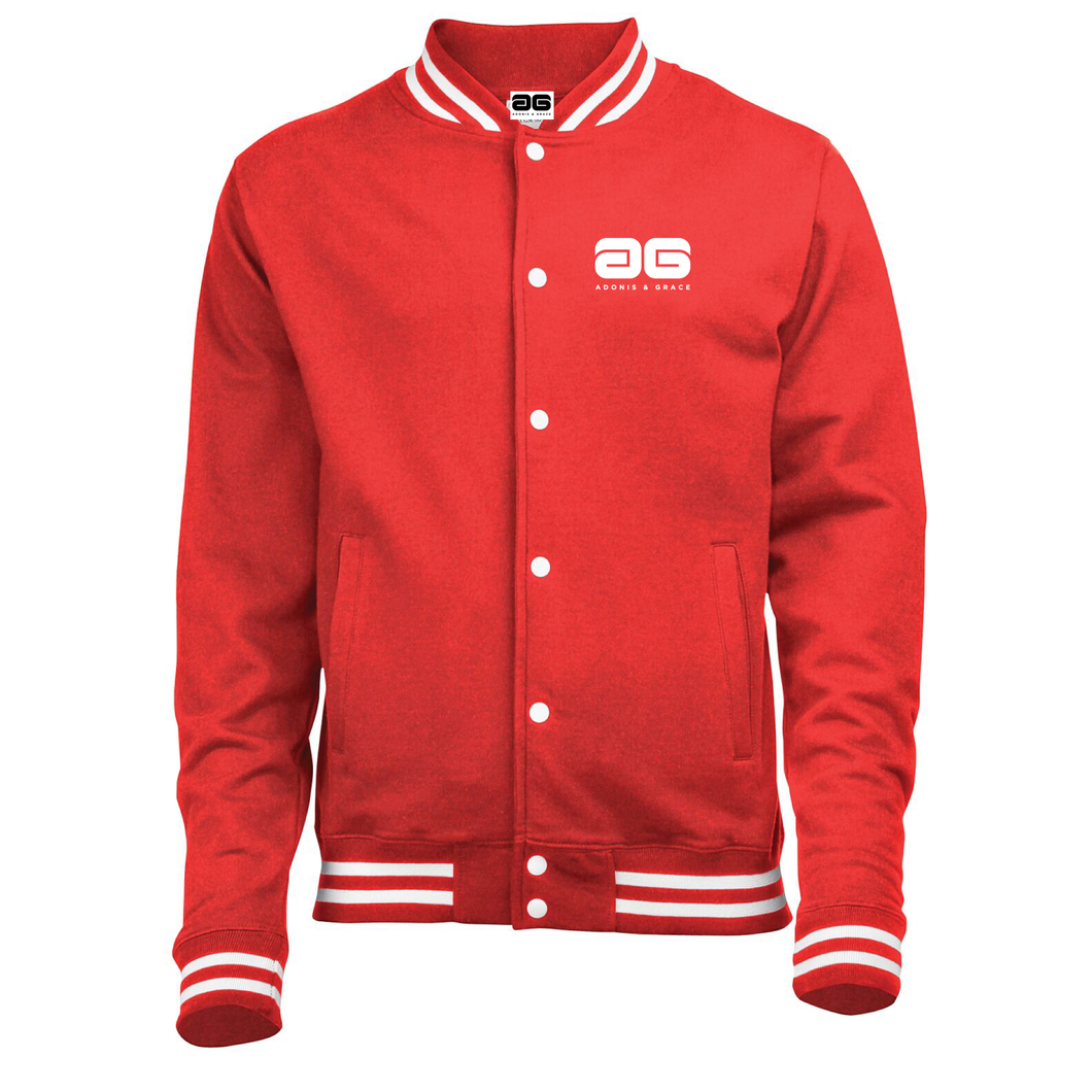 Adonis & Grace College Button Varsity Jacket Red