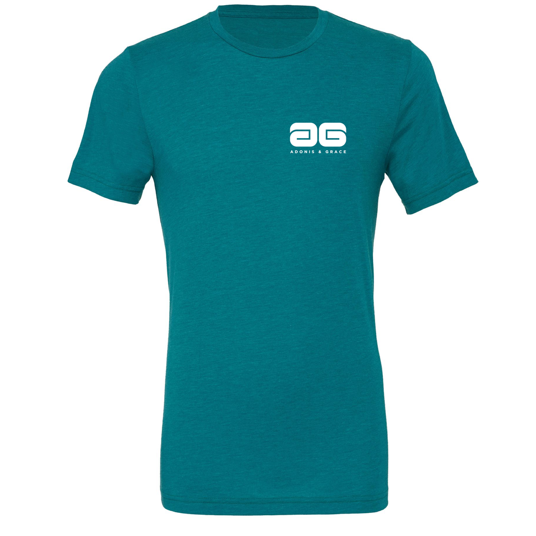 Adonis & Grace Unisex Crew Neck Fashion Summer T-Shirt Teal Triblend