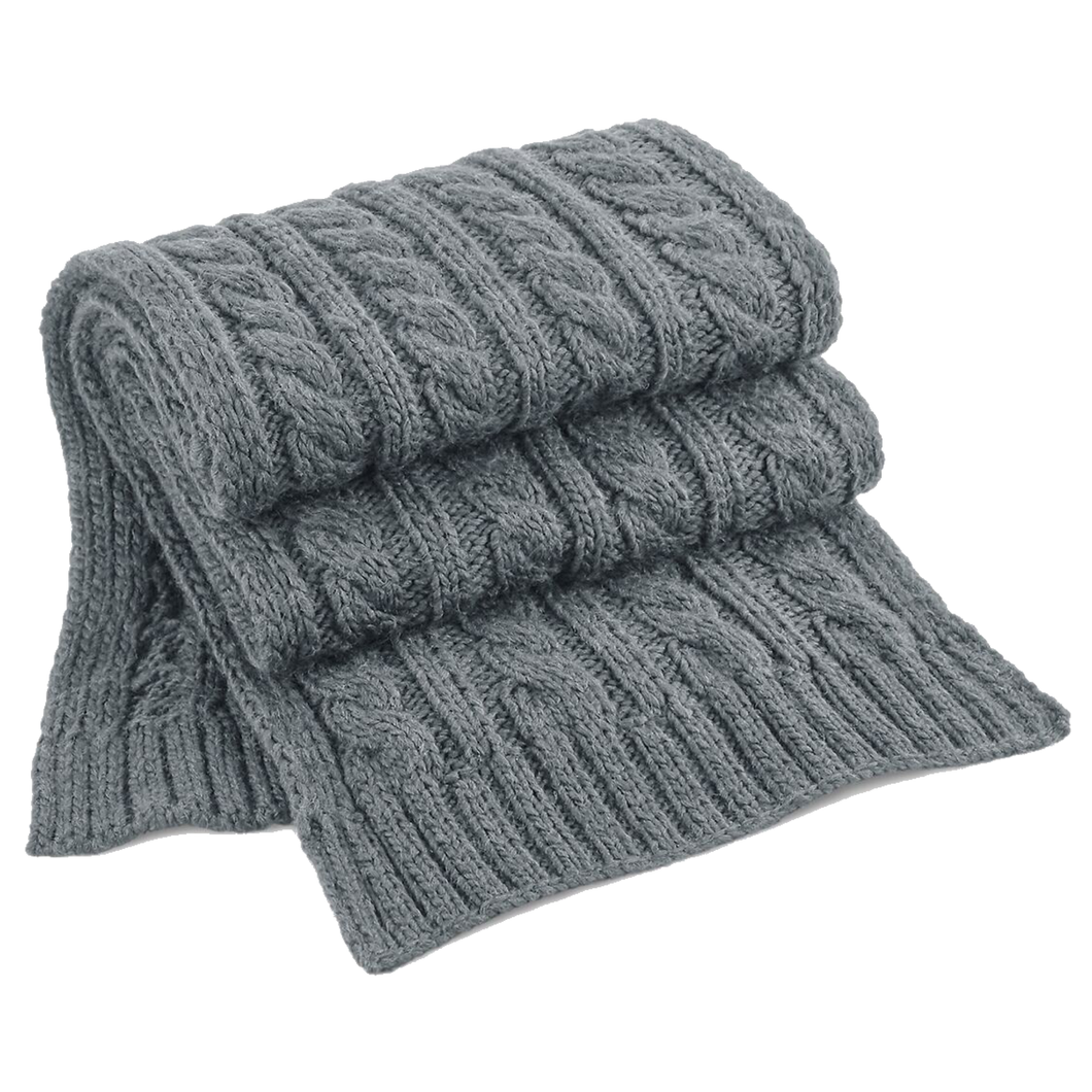 Adonis & Grace Luxury Cable Knit Melange Scarf Grey