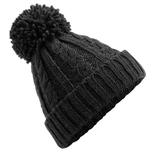 Adonis & Grace Cable Knit Melange Beanie Hat Black