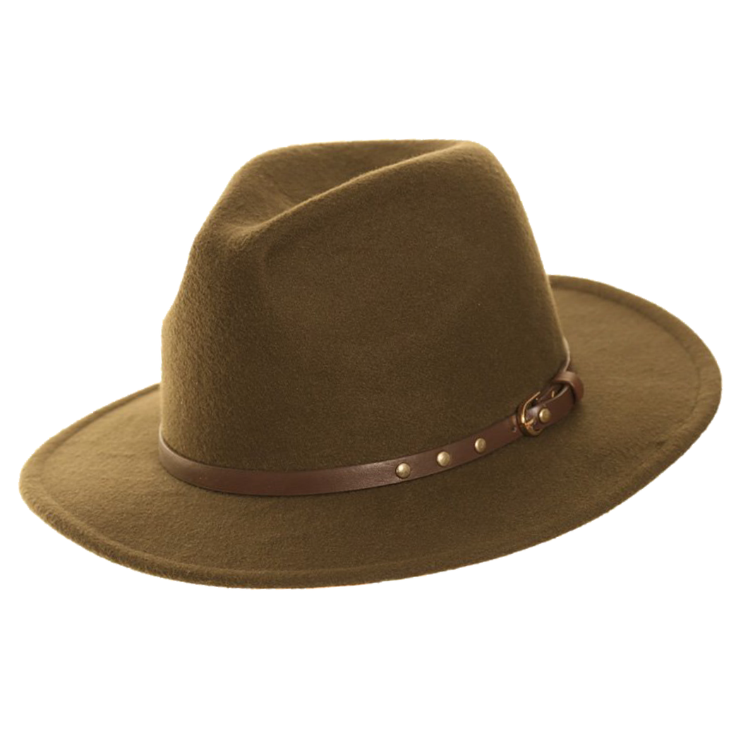 Adonis & Graces Unisex Felt Trilby with Stud Belt Band Green