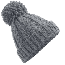 Load image into Gallery viewer, Adonis & Grace Cable Knit Melange Beanie Hat Grey