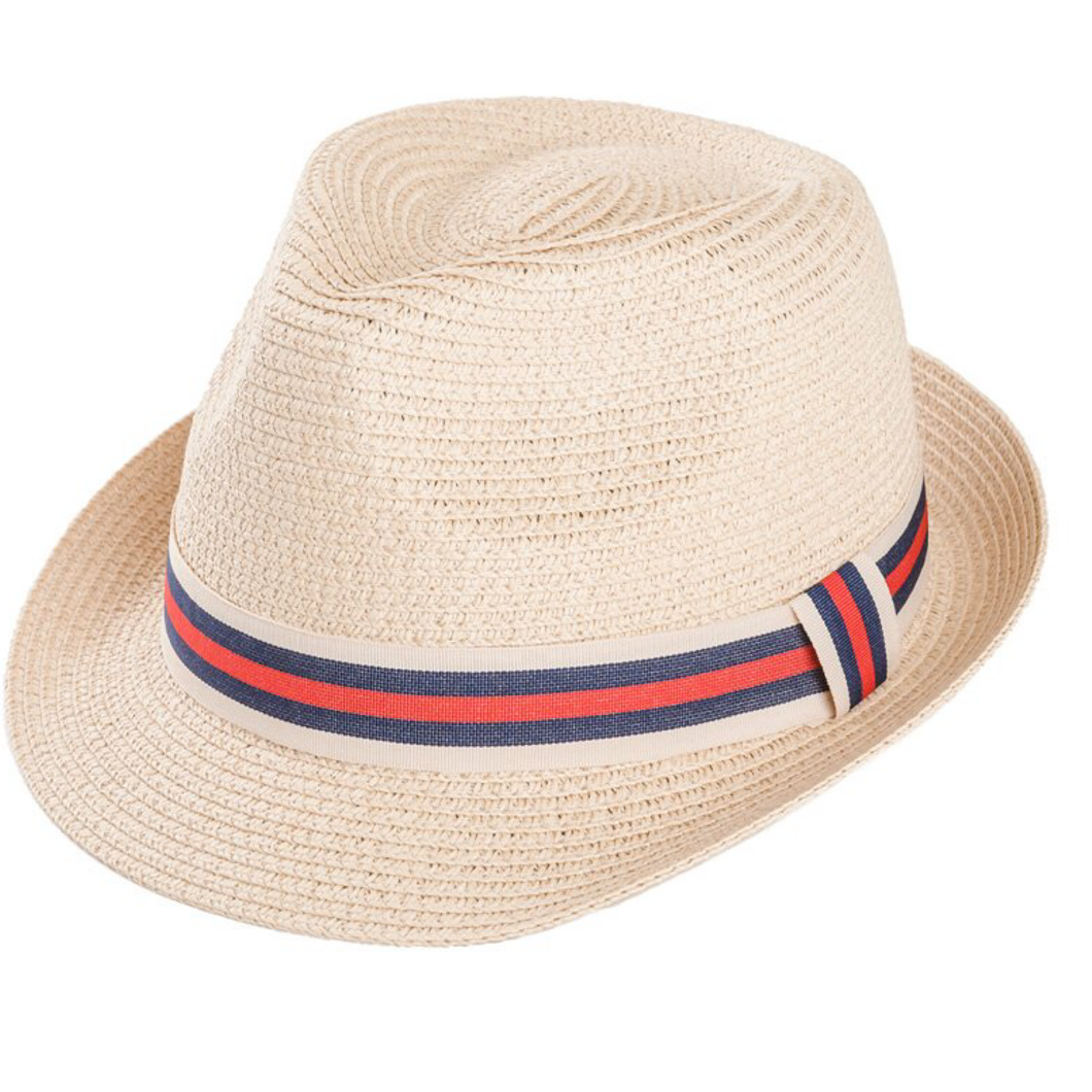 Adonis & Grace Unisex Straw Trilby with Ribbon Red