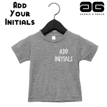 Load image into Gallery viewer, Adonis & Grace (Personalised) Baby Triblend Short Sleeve T-Shirt Grey