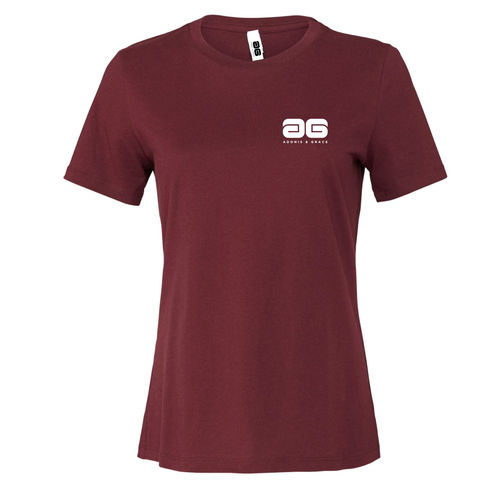 Adonis & Grace Womens Relaxed Summer T-Shirt Maroon