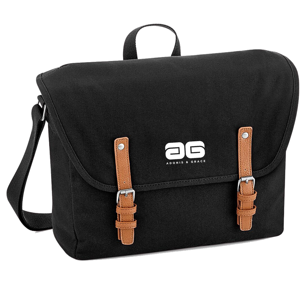 Adonis & Grace Luxury Vintage Messenger Bag Black