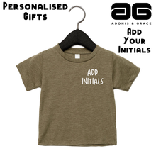 Load image into Gallery viewer, Adonis & Grace (Personalised) Baby Triblend Short Sleeve T-Shirt Olive