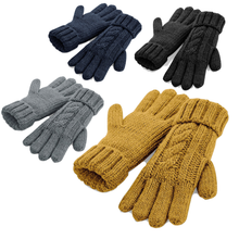 Load image into Gallery viewer, Adonis & Grace Cable Knit Winter Gloves Navy