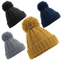 Load image into Gallery viewer, Adonis & Grace Cable Knit Melange Beanie Hat Mustard