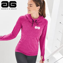 Load image into Gallery viewer, Adonis & Grace Womens Cowl Neck Hooded Gym Top Raspberry