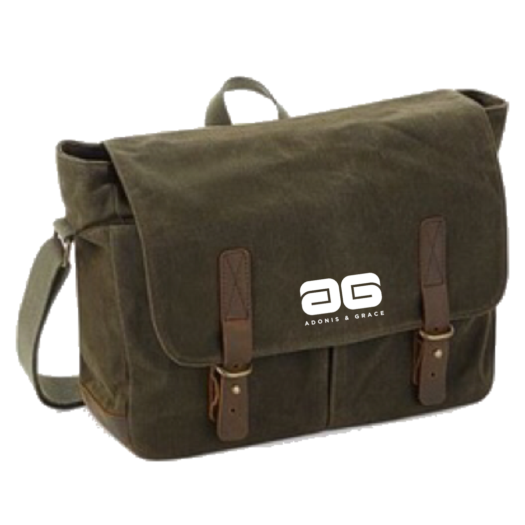 Adonis & Grace Heritage Waxed Canvas Bag Green