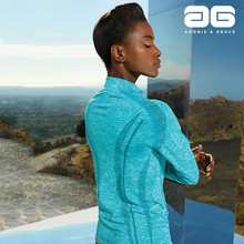 Load image into Gallery viewer, Adonis & Grace Womens Seamless Long Sleeve Zip Top Turquoise