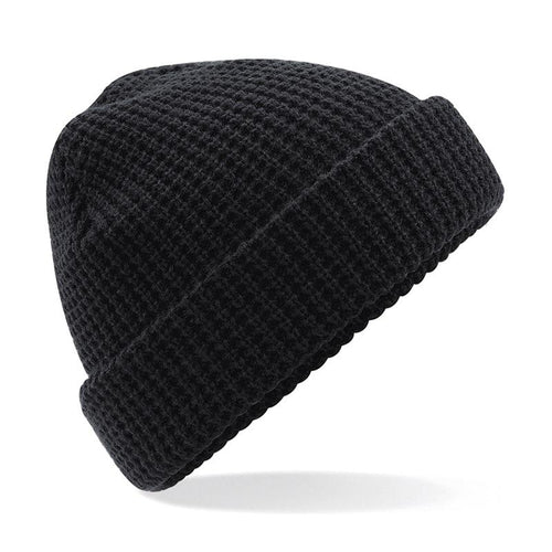 Adonis & Grace Classic Waffle Knit Beanie Hat Black - BrandClearance