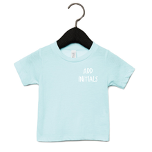 Load image into Gallery viewer, Adonis & Grace (Personalised) Baby Triblend Short Sleeve T-Shirt Ice Blue