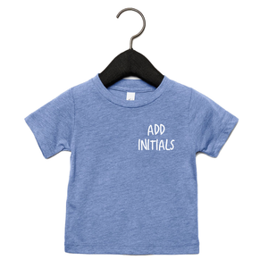 Adonis & Grace (Personalised) Baby Triblend Short Sleeve T-Shirt Blue