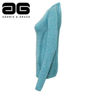Adonis & Grace Womens Seamless 3D Long Sleeve Top Turquoise