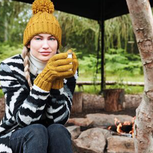 Adonis & Grace Cable Knit Winter Gloves Mustard