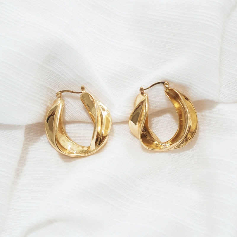 Adriana Gold Hoop Earrings - Violent Tinsel