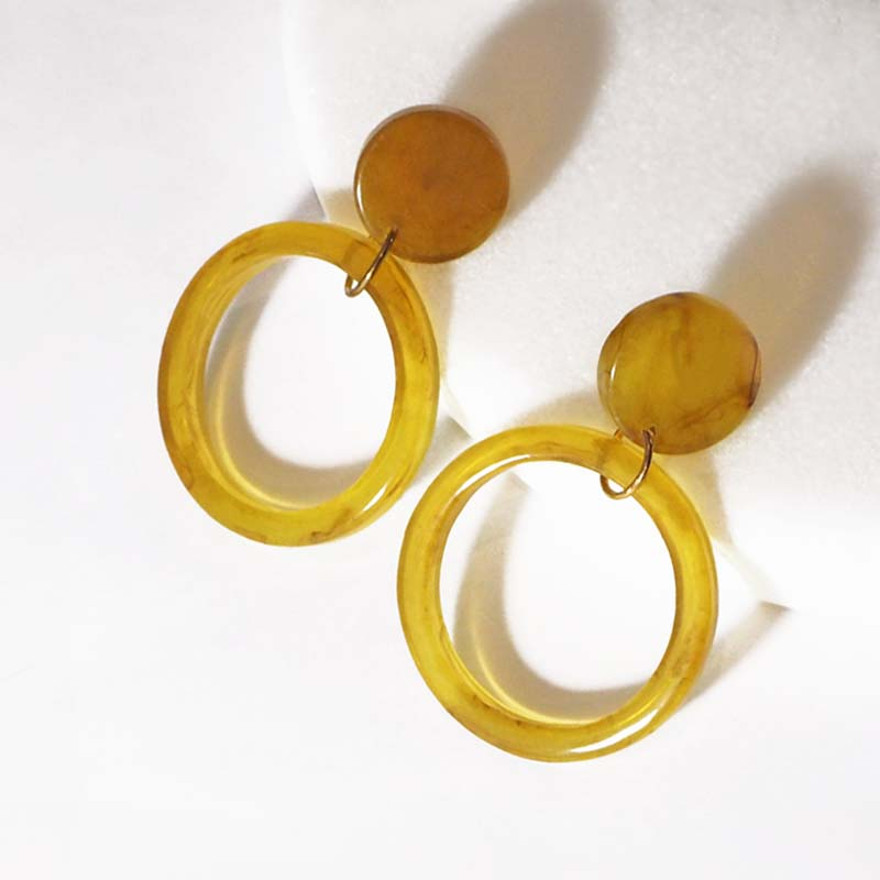 Rachel Drop Earrings in Mustard - Violent Tinsel