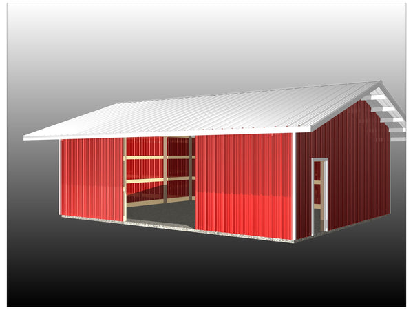 Enclosed Post Frame Barn with Overhangs