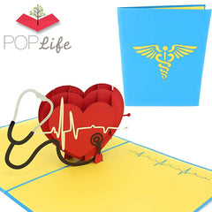 Covid Hero Medical Heart Valentine's Day Pop Up Card