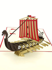 Colorful Viking Ship Pop Up Card