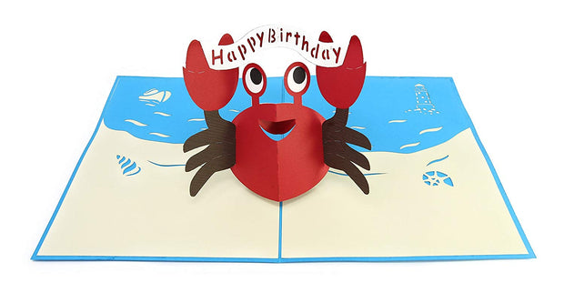 PopLife Pop-Up card features cute red crab holding happy birthday banner