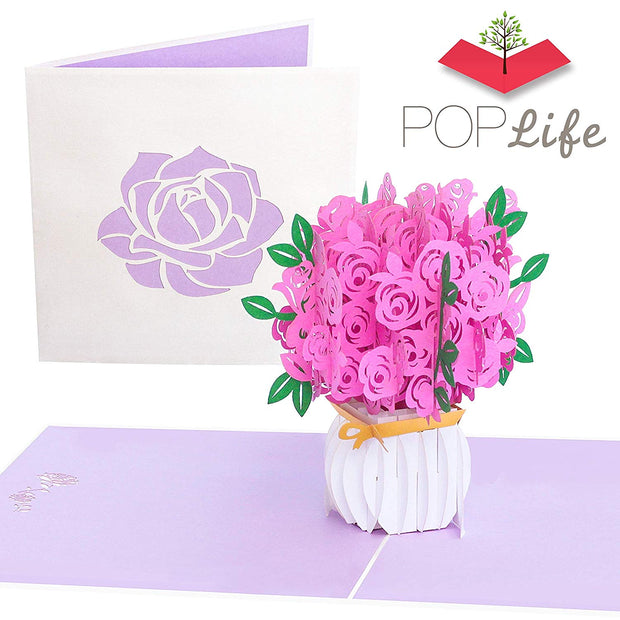 PopLife Pink Roses pop-up Mother's Day card | Laser Cut Pink Roses in White Bouquet Vase