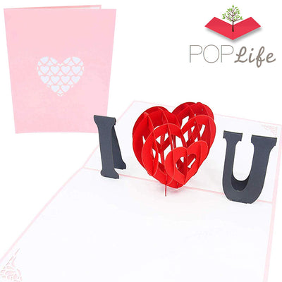 PopLife Pink I Love You Heart 3D Valentines Pop Up Card