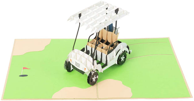 PopLife Pop-Up card features white golf cart with bag of clubs in tow