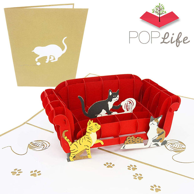 PopLife Cats Playing on Couch Pop Up Greeting Card 3D Pop Up Greeting Card