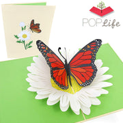 PopLife Orange Monarch Butterfly Pop Up Card