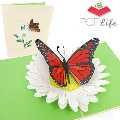 Orange Monarch Butterfly Pop Up Card