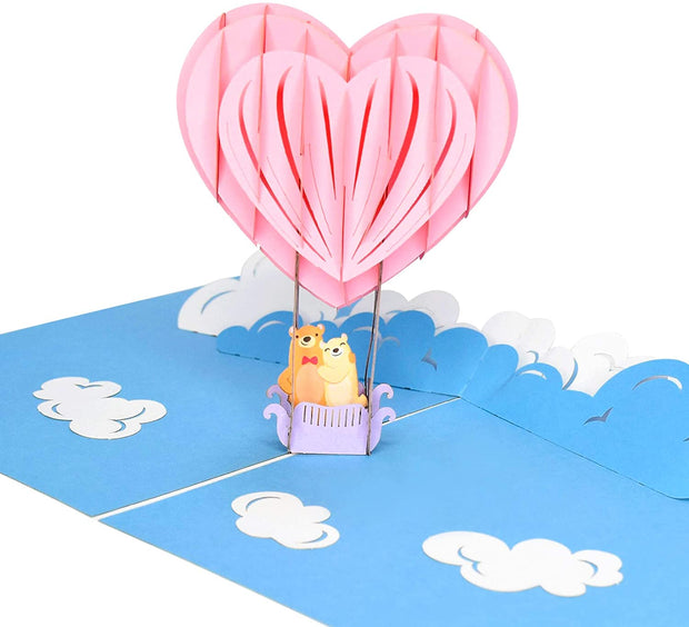 PopLife Pop-Up card features pink heart hot air balloon with bear couple