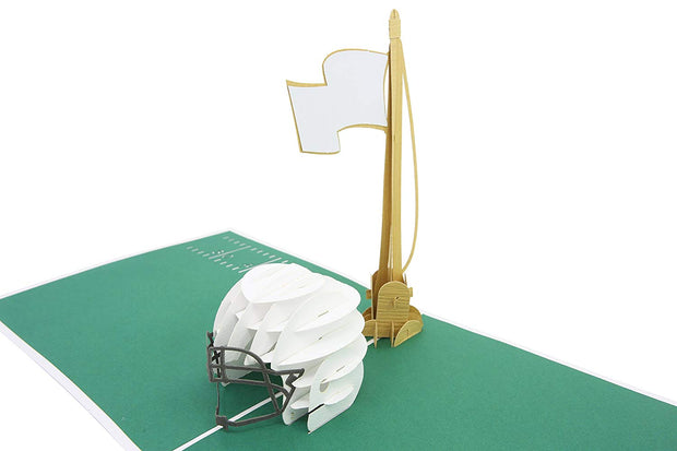 PopLife pop-up card features football helmet and flag pole