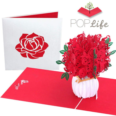 Red Roses Bouquet Pop Up Card