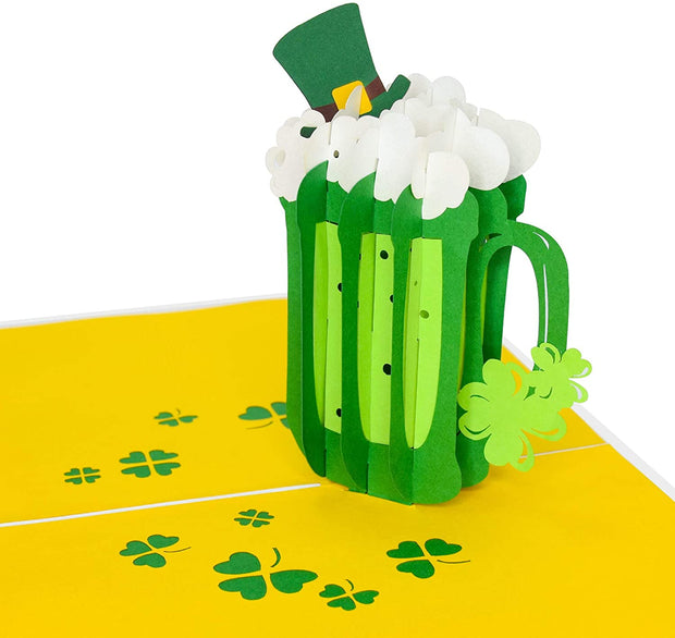 PopLife Pop-Up card features green green beer mug with a leprechaun hat and clover leaves