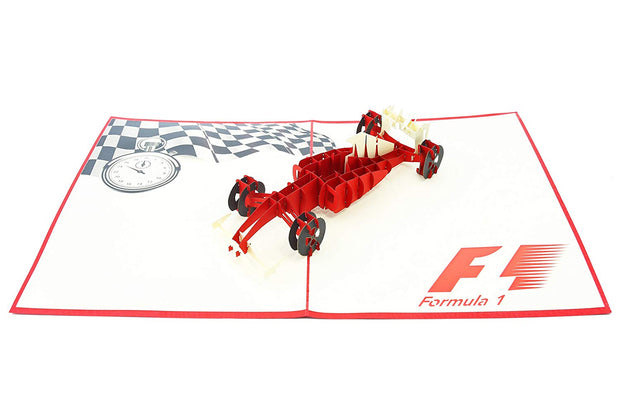 PopLife Pop-Up card features red F1 racing car