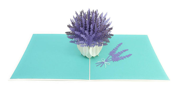 PopLife Pop-Up card features a bouquet of French Lavender flowers in a  white vase