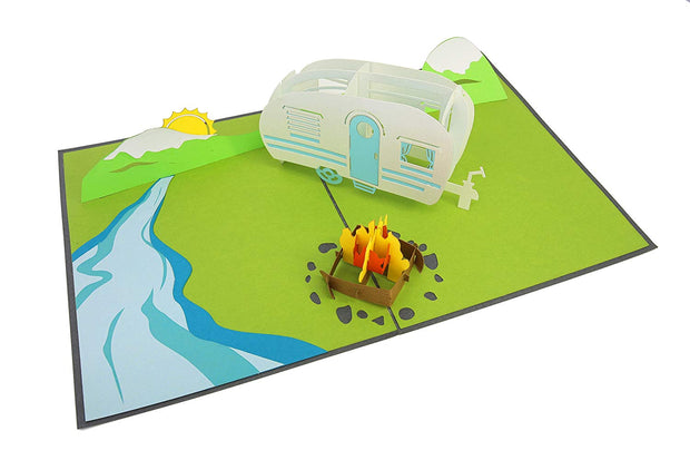 Pop-Up Card Features RV, Campfire, Mountains, and River