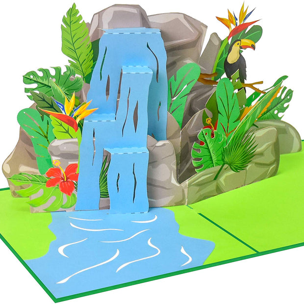 Tropical Waterfall Pop Up Card