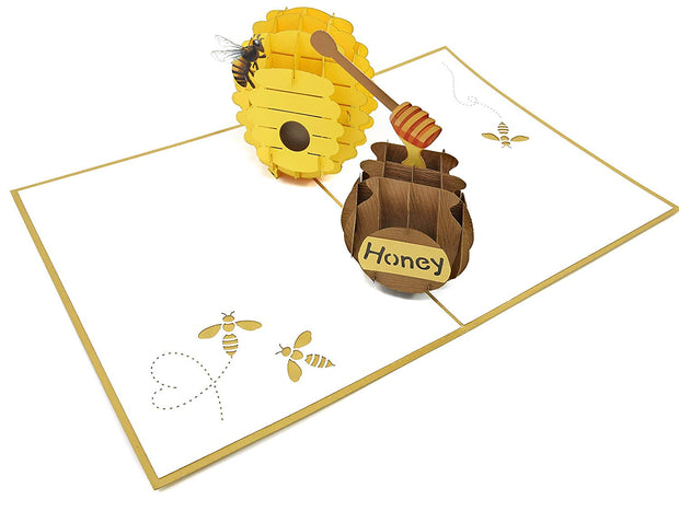 3D colorful bee and beehive with honeypot pop-up