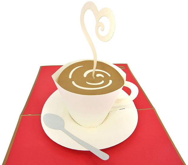 PopLife card features coffee cup and saucer with a spoon