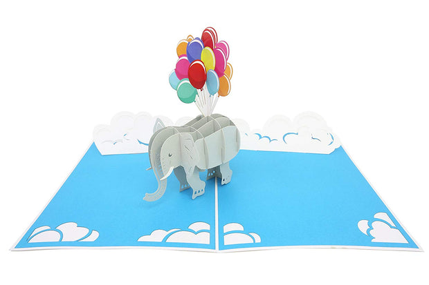 PopLife Pop-Up card features cute elephant with balloons  and white clouds