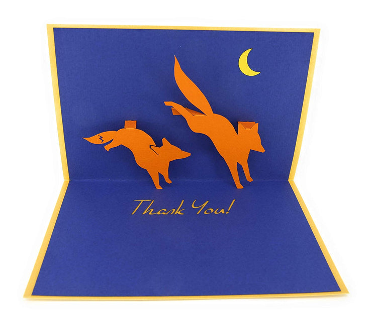 PopLife foxes with thank you note pop-up card
