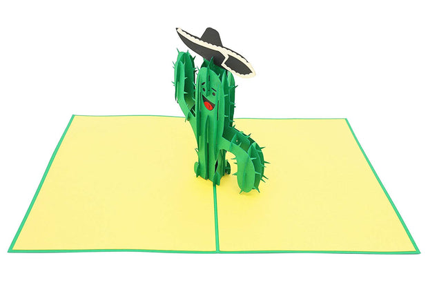 Funny Cactus with wide-brimmed hat Pop-Up Card