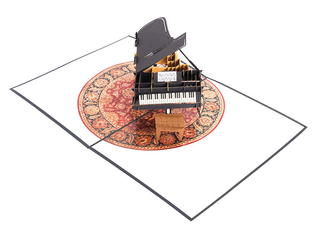 PopLife Pop-Up card features classic black grand piano complete with sheet music and a piano bench