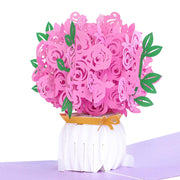 Intricate Hand Assembled Pink Paper Roses in White Bouquet. Bouquet Assembly Pops Out as Recipient Opens Card