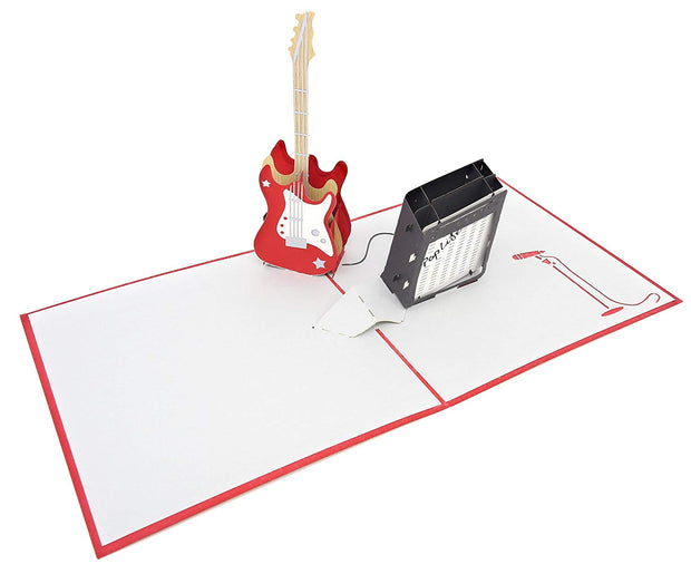 PopLife Pop-Up card features a red electric guitar and black amplifier